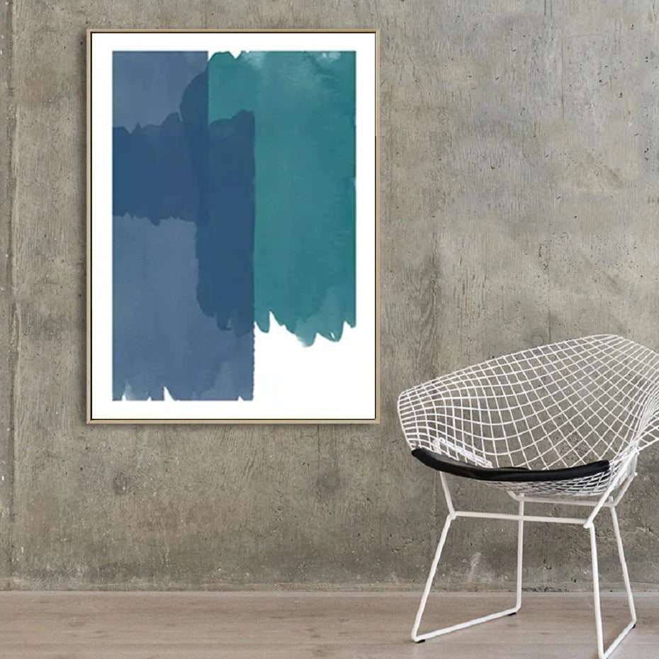 Abstract Nordic Watercolor Wall Art Shades Of Blue And Green Minimalist Fine Art Canvas Prints Colorful Paintings For Modern Interior Decoration