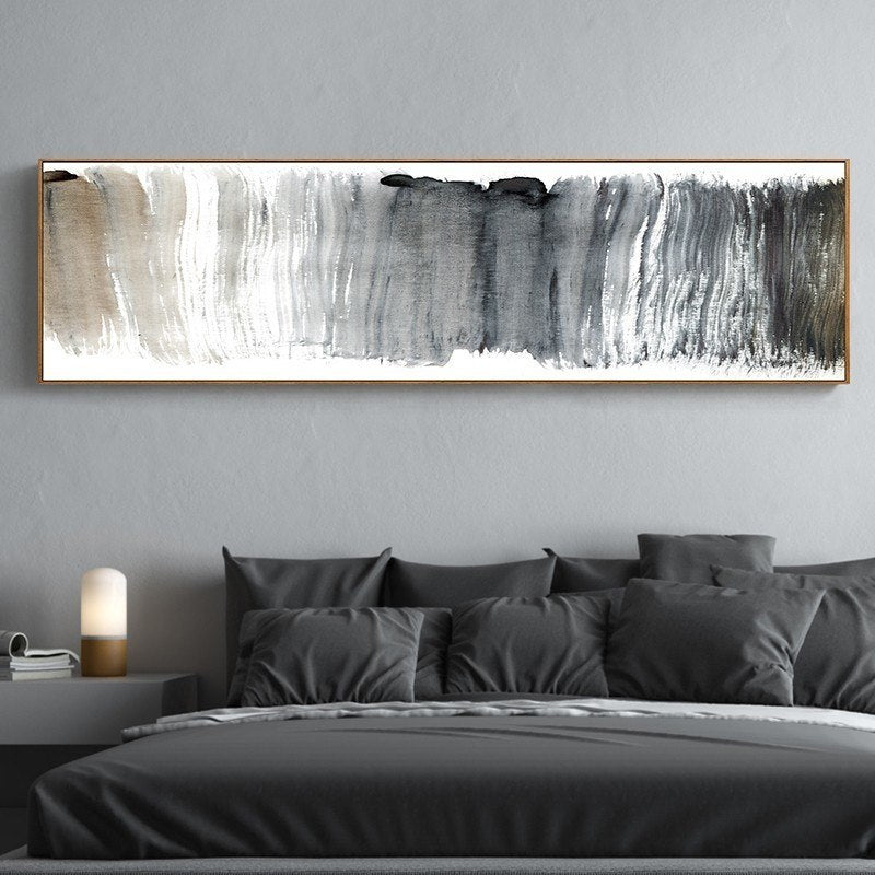 Abstract Panoramic Wall Art Shades Of Gray Black White Fine Art Canvas Print Nordic Style Modern Art Picture for Living Room Sofa Home Decor