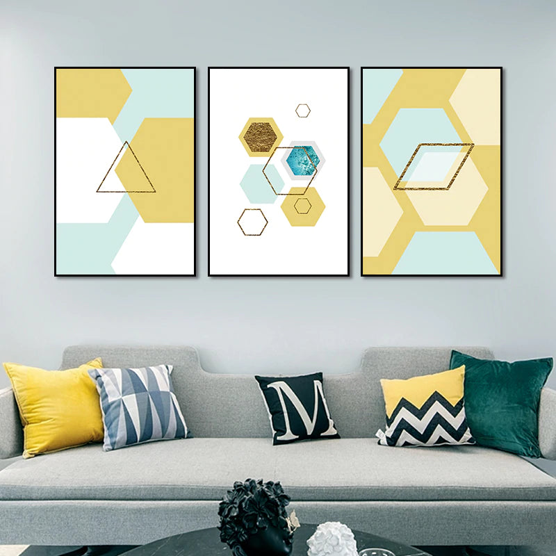 Abstract Parallelogram Nordic Style Wall Art Modern Geometric Shapes Hexagon Triangle Fine Art Canvas Prints Scandinavian Home Decor