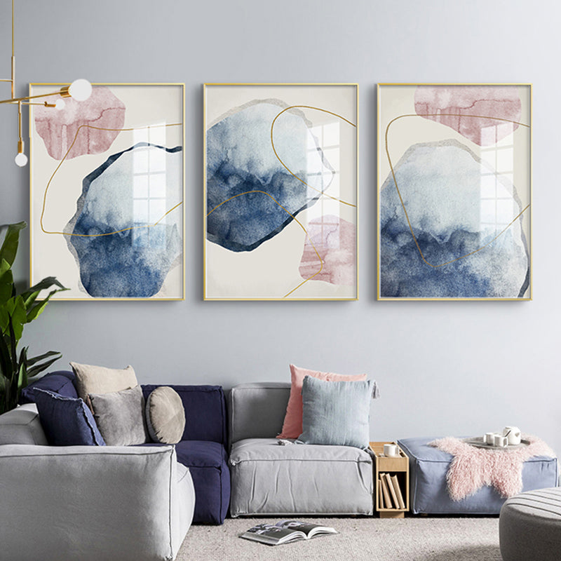 Abstract Pink Blue Geomorphic Elements Fine Art Canvas Prints Modern Pictures For Bedroom Living Room Wall Art Scandinavian Style Home Interior Decor
