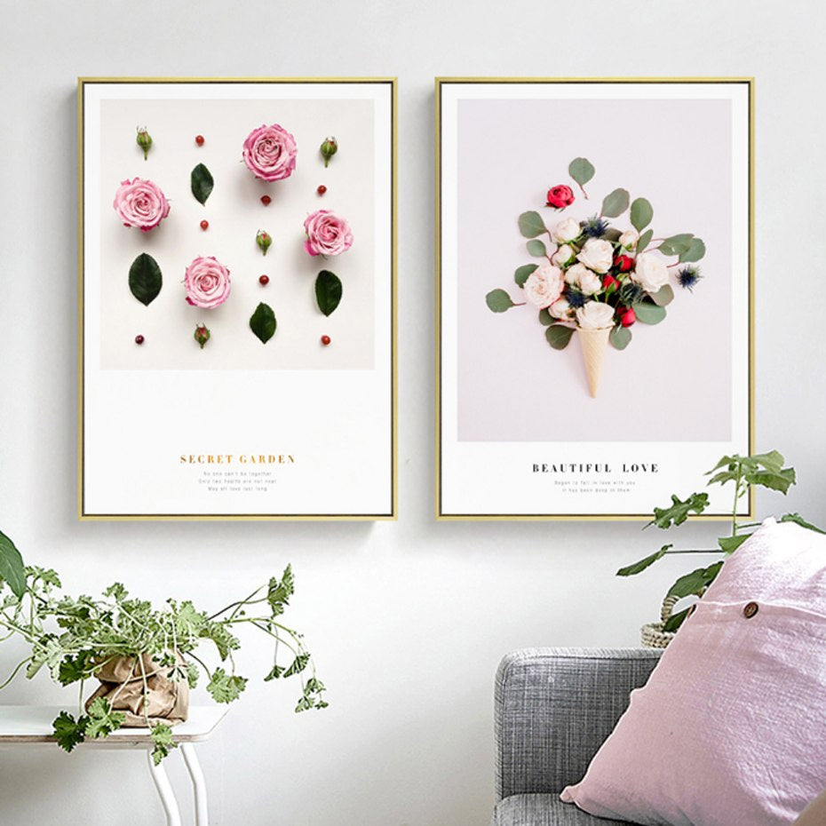 Abstract Plants Flowers Beauty Nature Prints Palm Leaf Pink Rose Orchid Love Quotes Fine Art Canvas Prints Posters For Modern Home Decoration