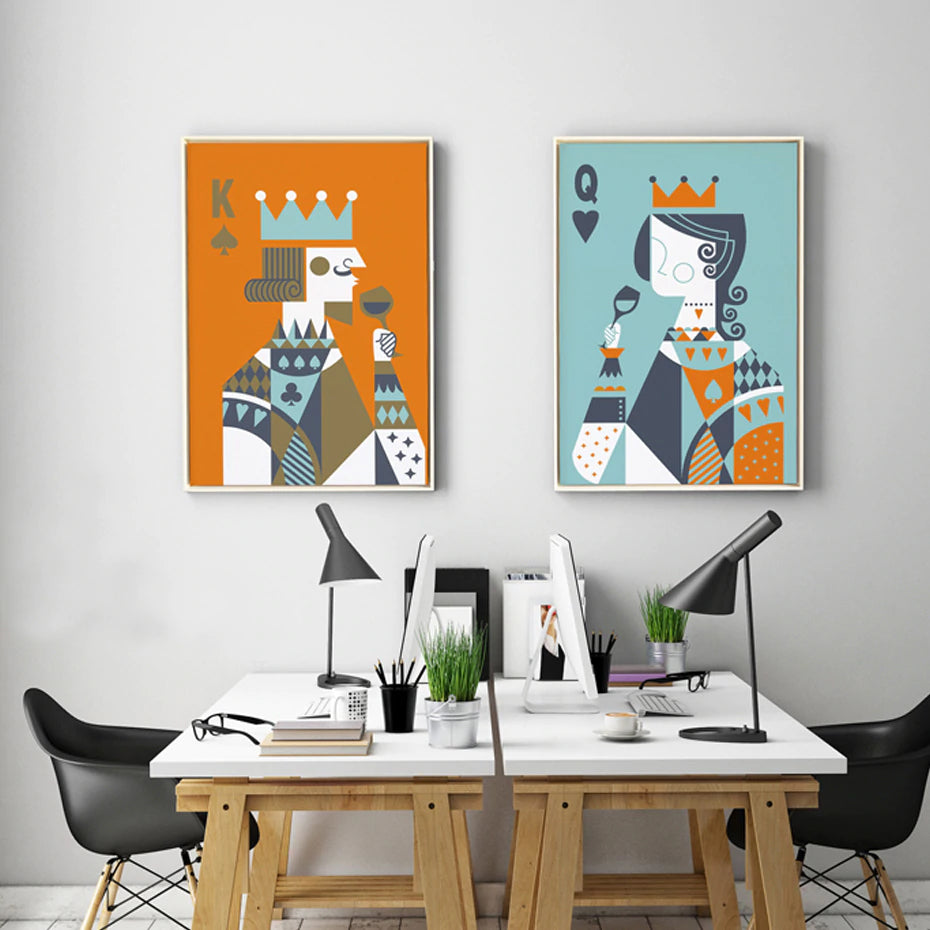 King queen poker playing cards abstract nordic canvas - Contemporary wall art for living room ...