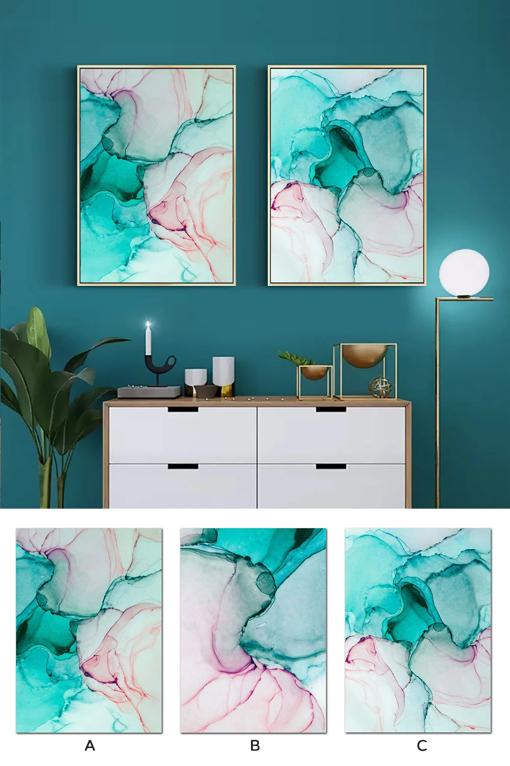 Abstract Shades Of Green Pink Marble Design Wall Art Fine Art Canvas Prints Fashionable Pictures For Living Room Bedroom Nordic Style Home Interior Decor