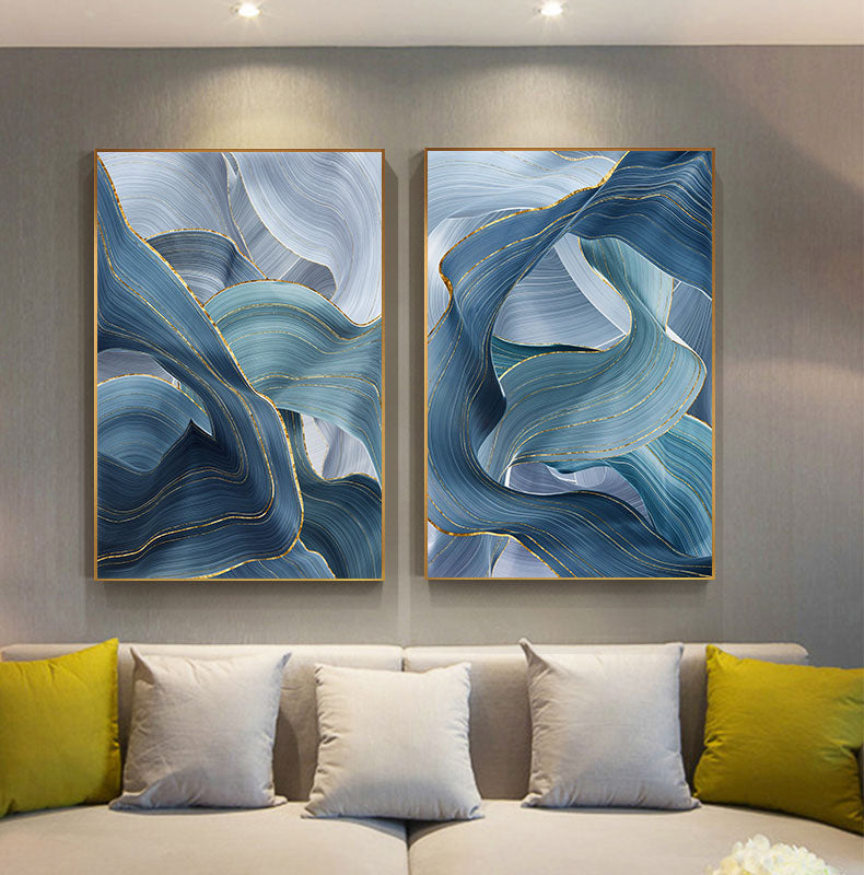 Abstract Silver Gray Blue Ribbon Wall Art Fine Art Canvas Prints Modern Elegance Pictures For Living Room Bedroom Luxury Home Office Interior Decor