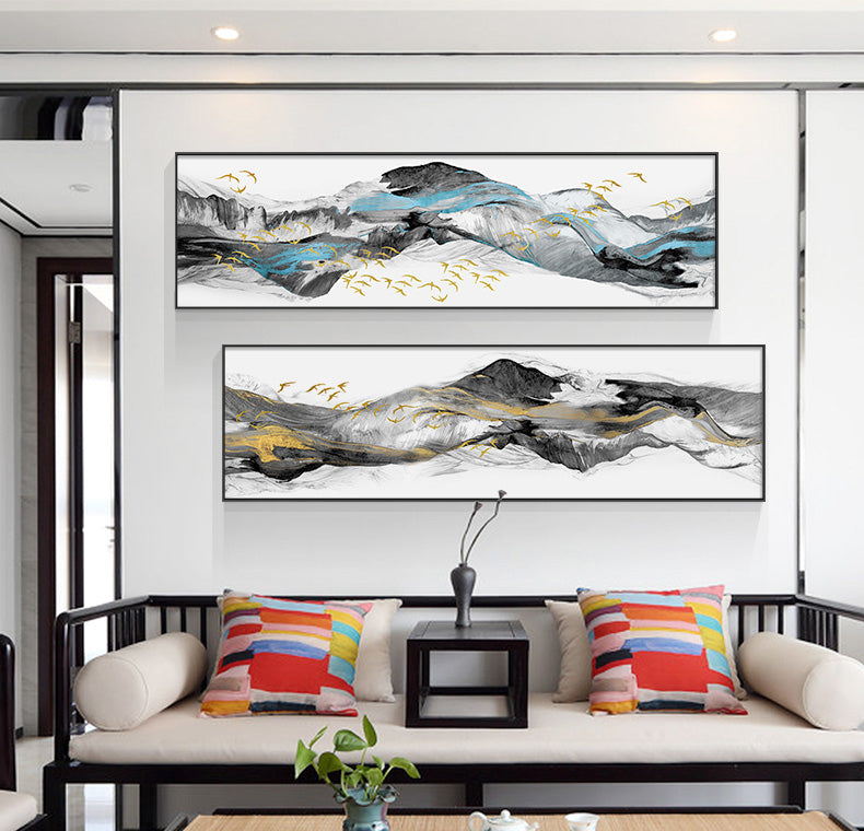 Abstract Snowy Mountain Panorama Wall Art Fine Art Canvas Prints Nordic Style Minimalist Wide Format Landscape Pictures For Modern Home Office Interiors