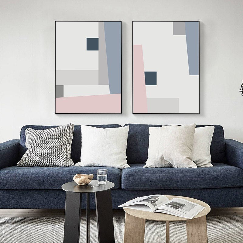 Abstract Squares Geometric Design Posters Pink Blue Grey Modern Nordic Fine Art Canvas Prints Paintings For Bedroom Living Room Modern Home Decor