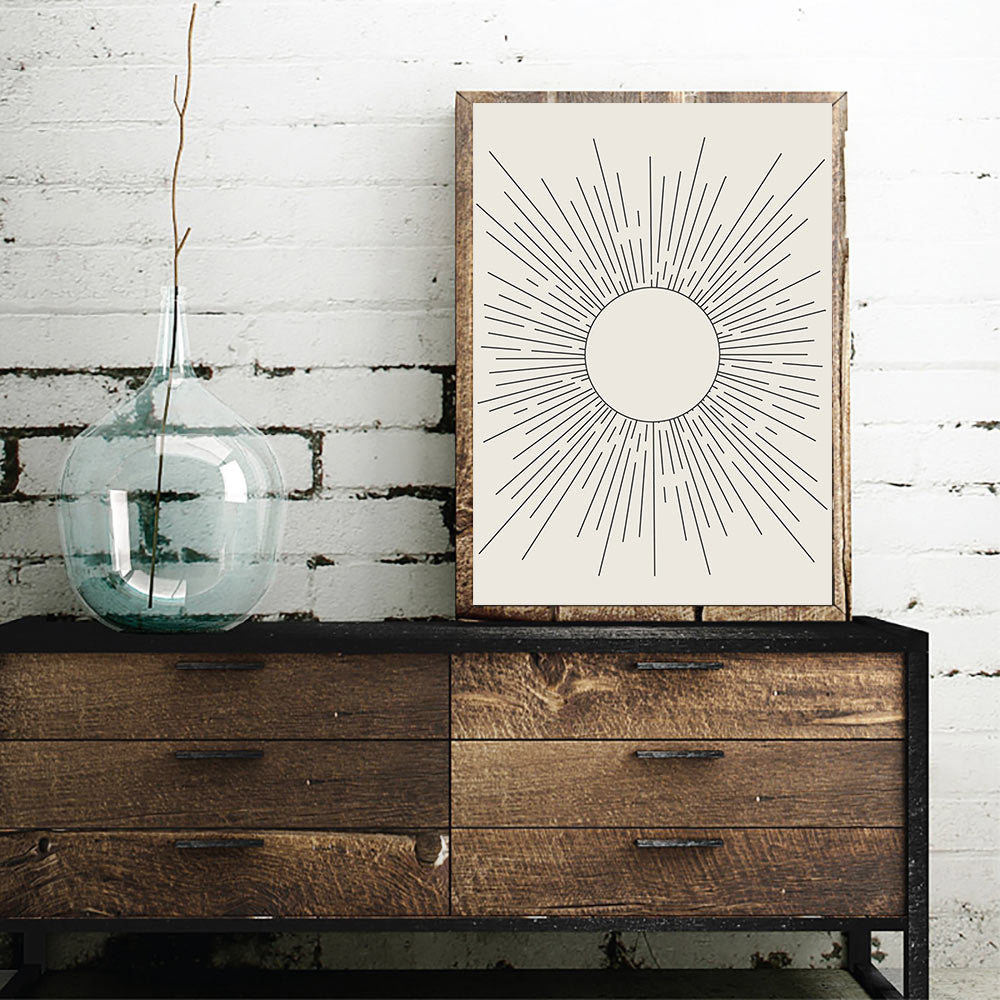 Abstract Sun Rays Wall Art Minimalist Mid Century Vintage Block Print Illustrations Fine Art Canvas Prints Pictures For Living Room Home Office Wall Decor