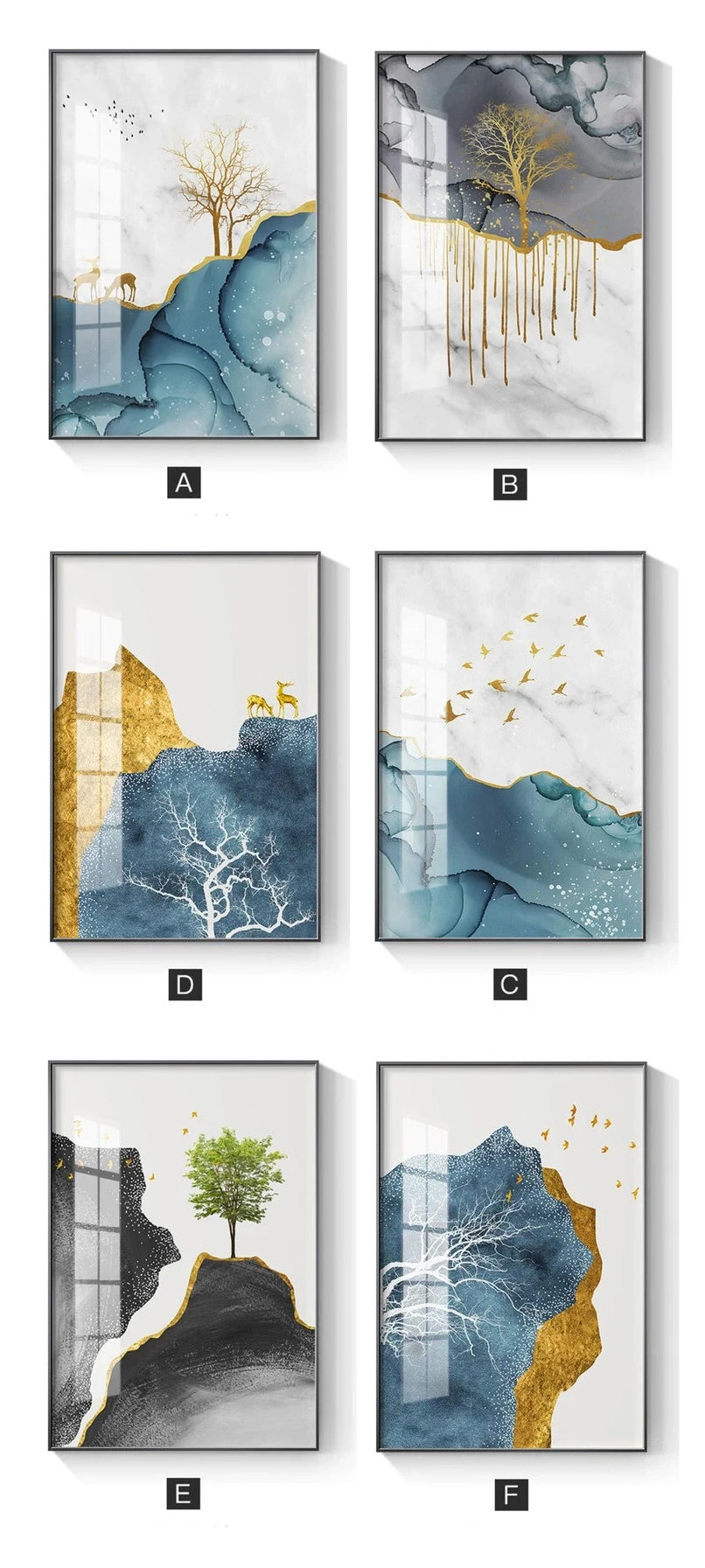Abstract Golden Blue Summer Sea Sky Landscape Wall Art Fine Art Canvas Prints Contemporary Picture For Living Room Bedroom Nordic Interior Wall Art Decor