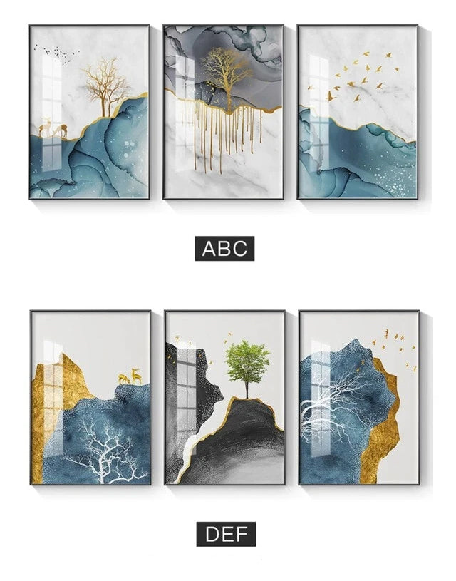 Abstract Surreal Golden Deer Nordic Landscape Wall Art Fine Art Canvas Prints Pictures For Living Room Bedroom Office Scandinavian Style Home Interior Decor