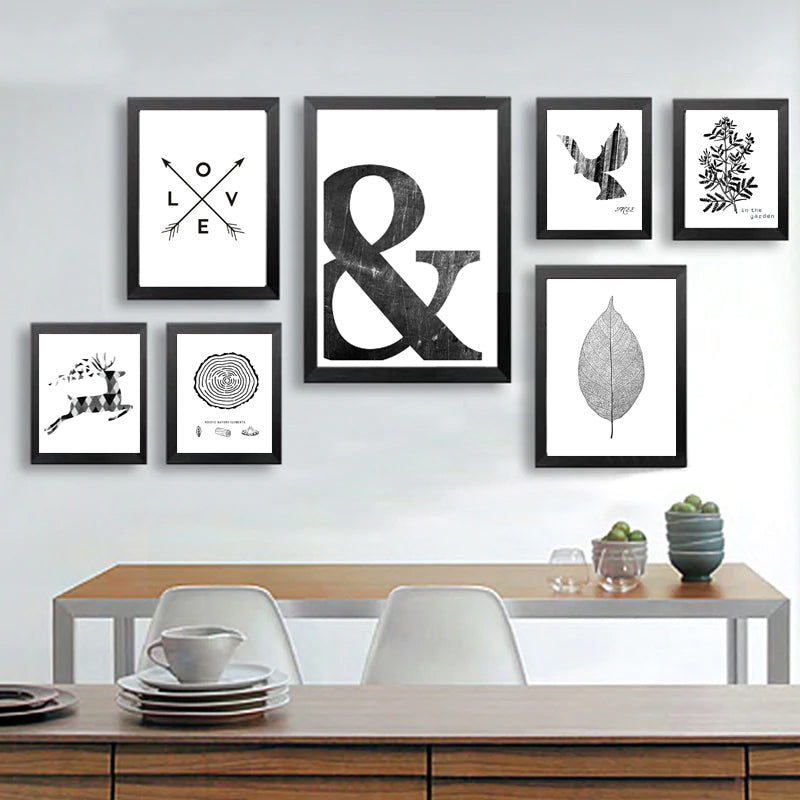 Abstract Symbols Scandinavian Wall Art Black And White Minimalist Nordic Giclee Canvas Posters For Living Room Home Decor