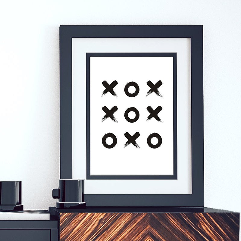 Abstract Tic Tac Toe Modern Art Print Minimalist Black and White Canvas Poster Print Nordic Wall Art For Salon or Home Decor