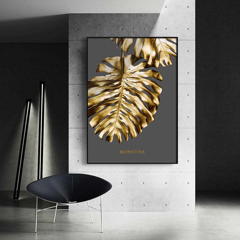 Abstract Tropical Gold Wall Art Nordic Style Golden Botanic Floral Fine Art Canvas Prints For Living Room Dining Room Modern Home Office Wall Art Decor