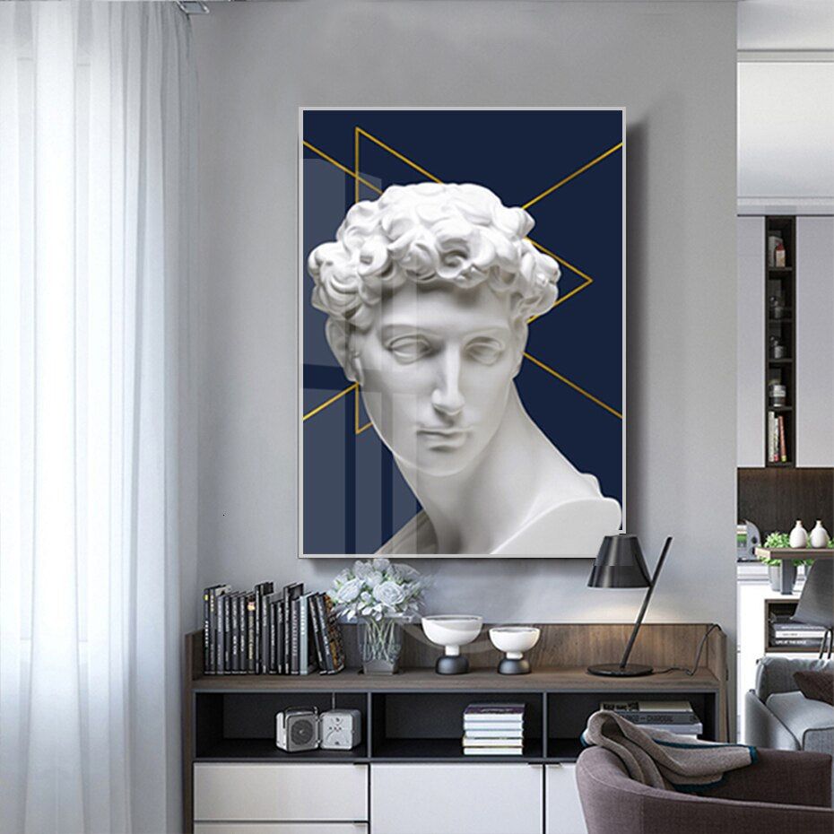 Abstract Vintage Renaissance David Sculpture Wall Art Contemporary Nordic Gallery Wall Fine Art Canvas Prints For Modern Home Interiors