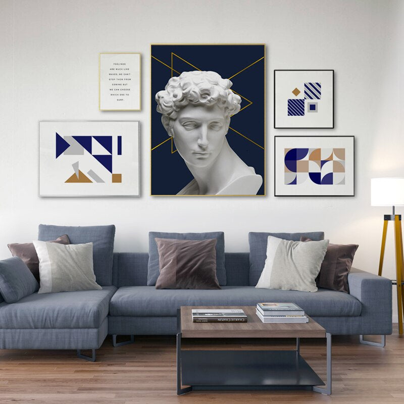 Abstract Vintage Renaissance David Sculpture Wall Art Contemporary Nordic Gallery Wall Fine Art Canvas Prints For Modern Home Interiors (1