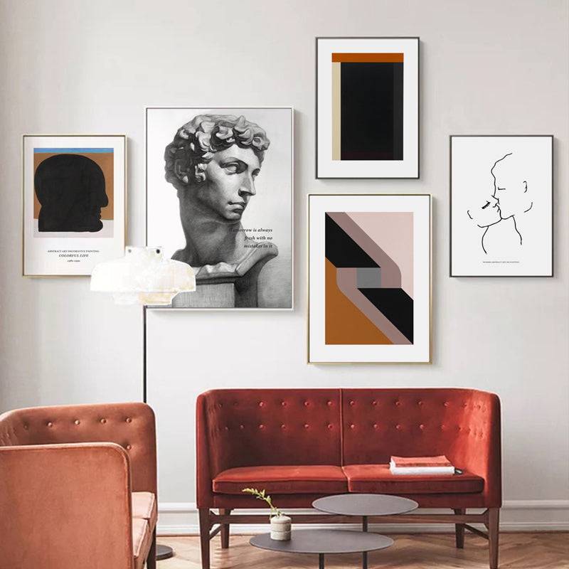 Abstract Vintage Retro Renaissance Wall Art David Sculpture Minimalist Nordic Gallery Wall Pictures For Living Room Dining Room Wall Decoration