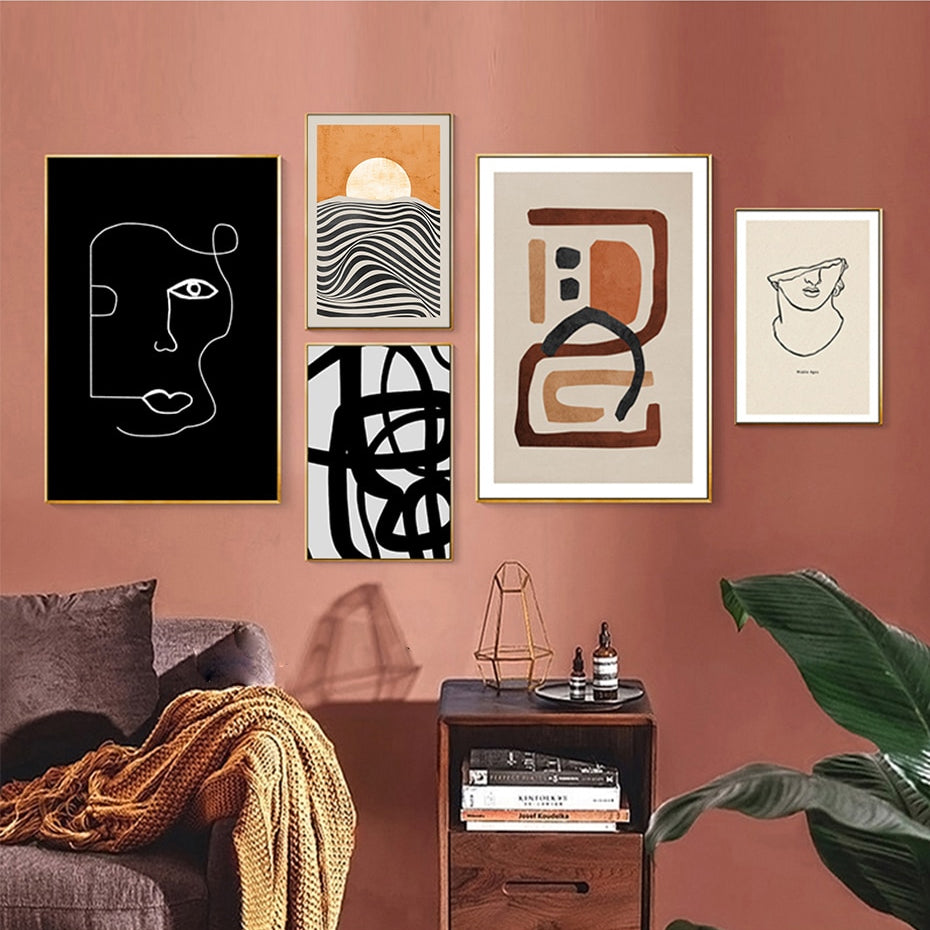 Abstract Vintage Vogue Gallery Wall Art Fine Art Canvas Prints Stylish Minimalist Pictures For Living Room Dining Room Home Office Interior Decor