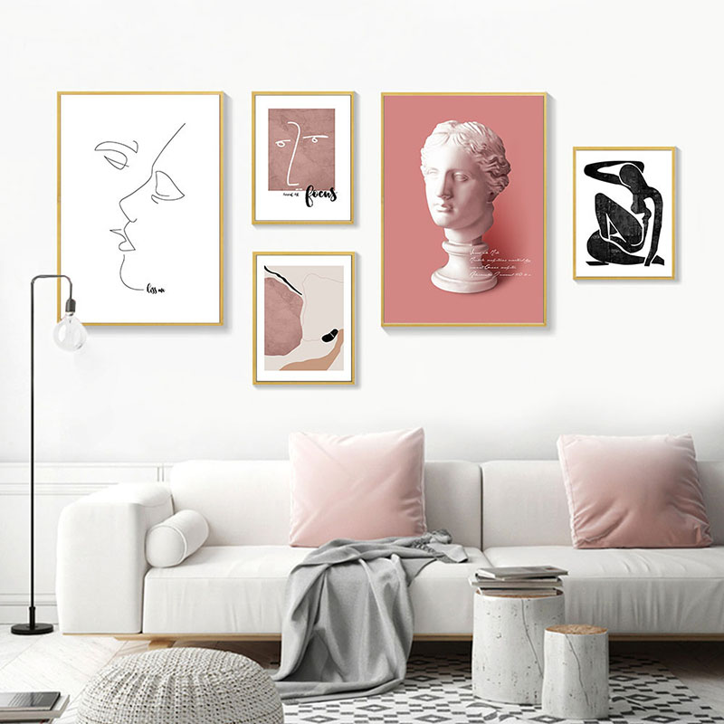Abstract Vintage Vogue Renaissance Classic Gallery Wall Art Fine Art Canvas Prints Warm Hues Minimalist Nordic Home Decor Pictures (2)