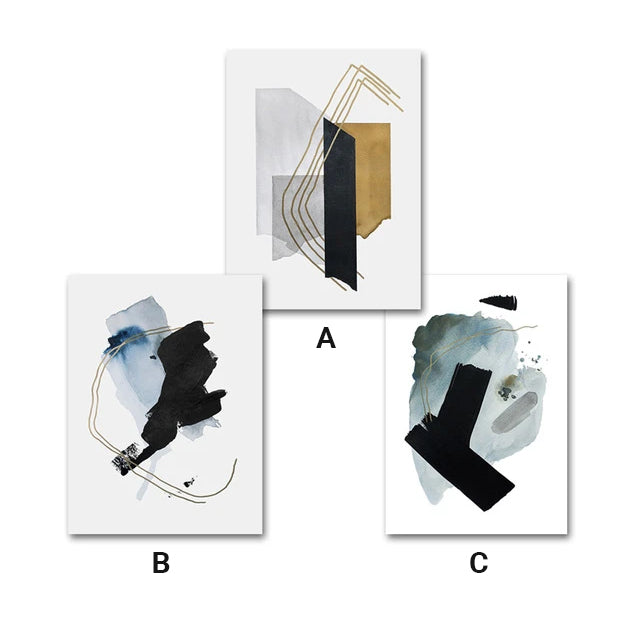 Abstract Watercolor Pictures Bold Black Grey Green Gold Wall Art Fine Art Nordic Canvas Prints For Modern Office Home Living Room Interior Decor