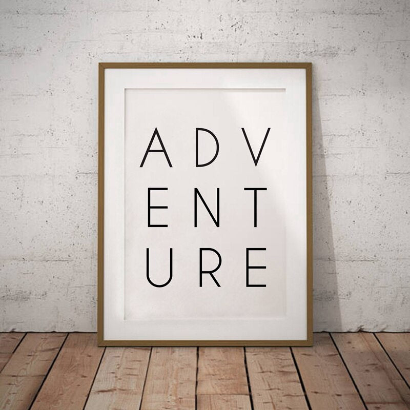 Adventure Poster Wall Art Typographic Word Art Fine Art Canvas Print Minimalist Inspirational Picture For Living Room Nordic Bedroom Wall Decor