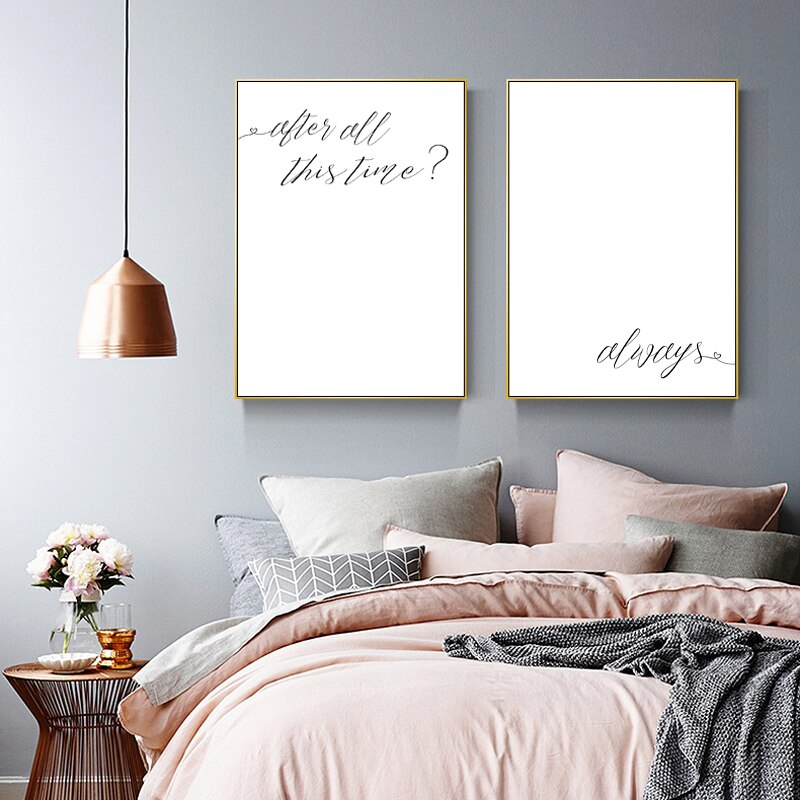 After All This Time Always Movie Quote Wall Art Black White Minimalist Fine Art Canvas Prints love Quotation Posters For Simple Bedroom Home Decor