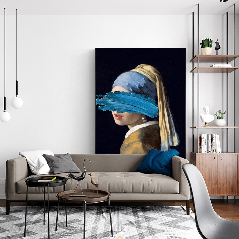 Altered Abstract Famous Paintings Wall Art Girl With A Pearl Earring By Johannes Vermeer Fine Art Canvas Prin Surreal Vintage Vogue Gallery Wall Art Decor