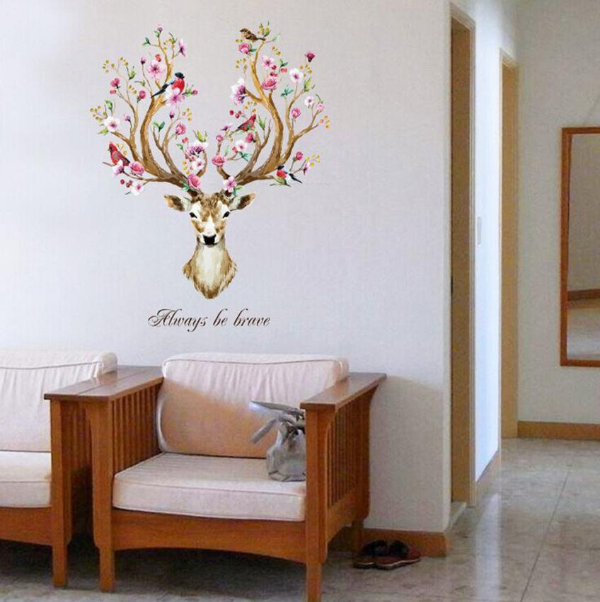 Always Be Brave Floral Antlered Deer Head Wall Art Mural Removable Vinyl Wall Decal Creative Nordic Style Home Interior Wall Decoration