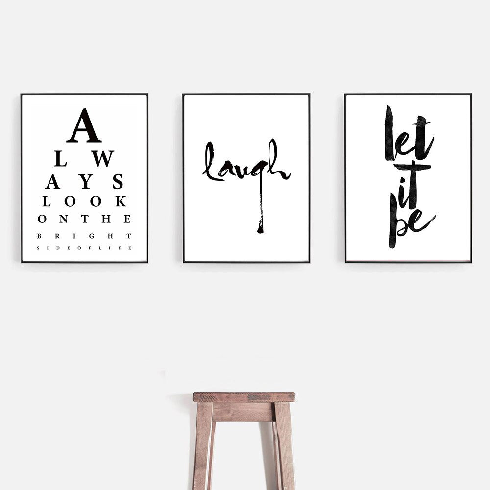 Always Look On The Bright Side Quotes Wall Art Let It Be Quotation Fine Art Canvas Prints Black And White Minimalist Nordic Typographic Motivational Posters