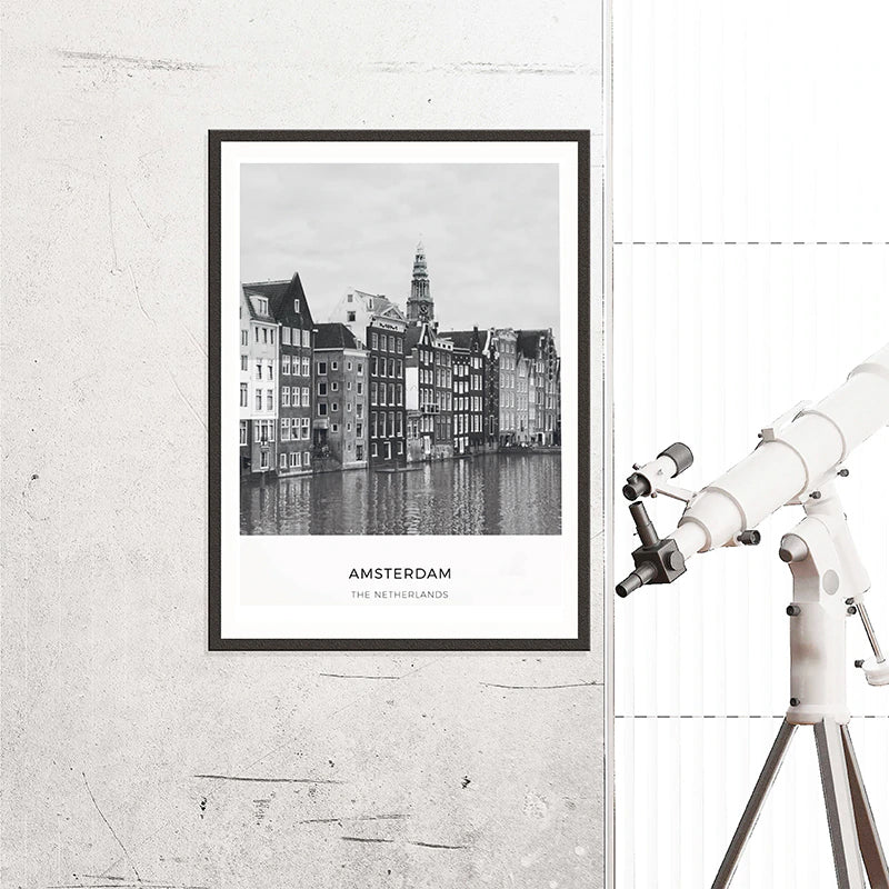 Amsterdam City Map Art Black and White Landscape Travel Wall Art Netherlands Fine Art Canvas Prints Nordic Style Art For Modern Home Decor