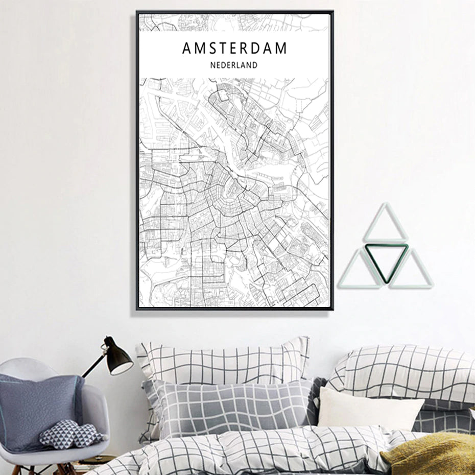Amsterdam City Map Poster Modern City Nordic Wall Art Canvas Fine Art Print Black and White Poster For Living Room Amsterdam Office Decor