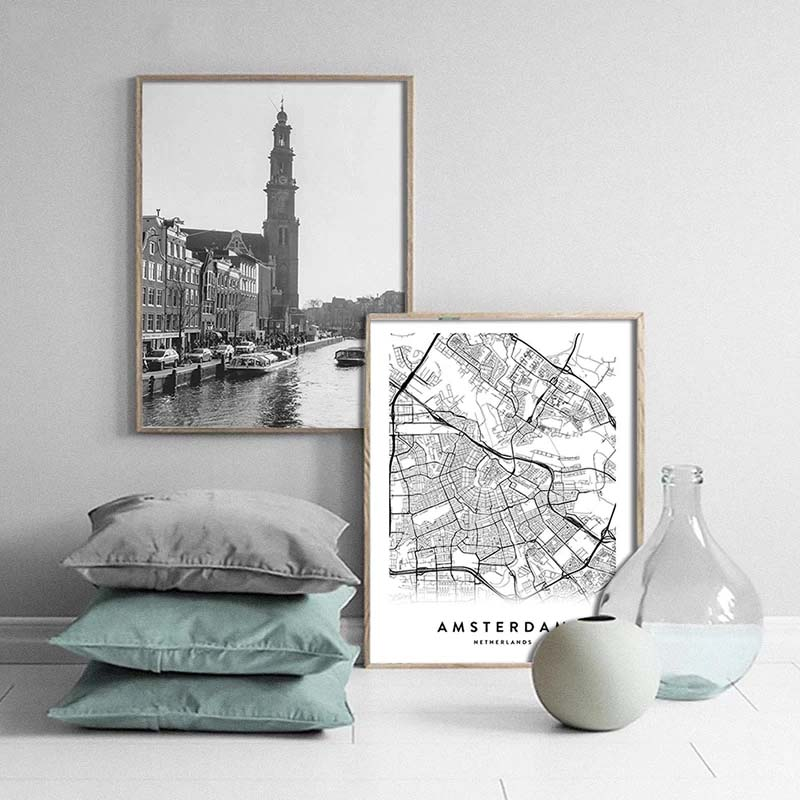 Prague City Map Wall Art Black White Minimalist European Czech Republic Travel Pictures For Living Room Dining Room Home Office Nordic Wall Art Decor