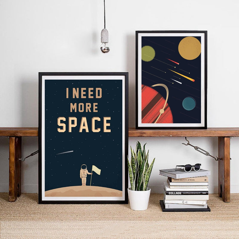 Astronaut Boy On Moon Space And Planets Wall Art For Boys Room Fine Art Canvas Prints Nordic Style Pictures For Nursery Kids Room Home Decor
