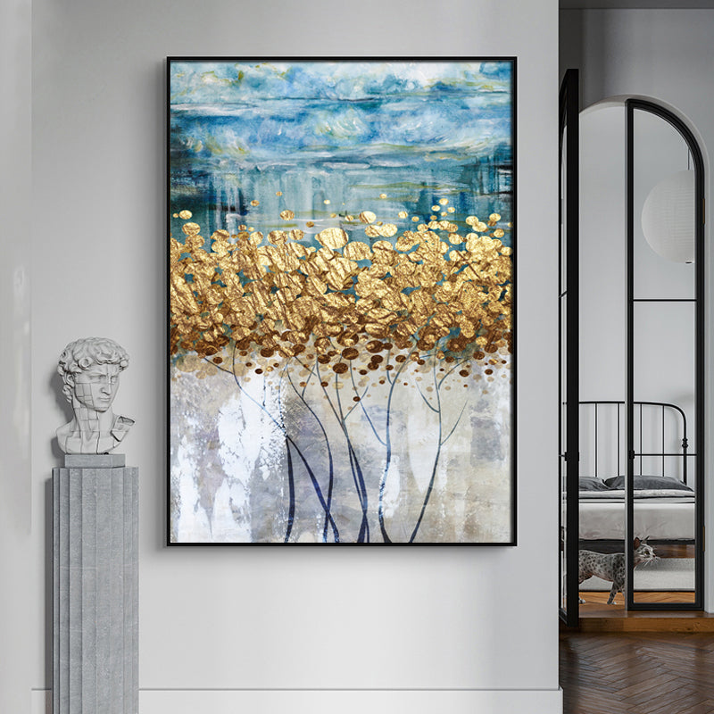 Auspicious Abstract Golden Trees Wall Art Fine Art Canvas Prints Modern Lifestyle Pictures For Living Room Apartment Luxury Loft Home Office Interior Decor