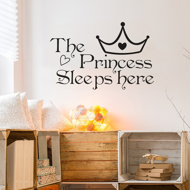 Baby Princess Signage Wall Decal For Girl's Room Removable PVC Vinyl Wall Mural For Baby Girl Bedroom Simple Creative DIY Decor Nordic Style Nursery Wall Decor