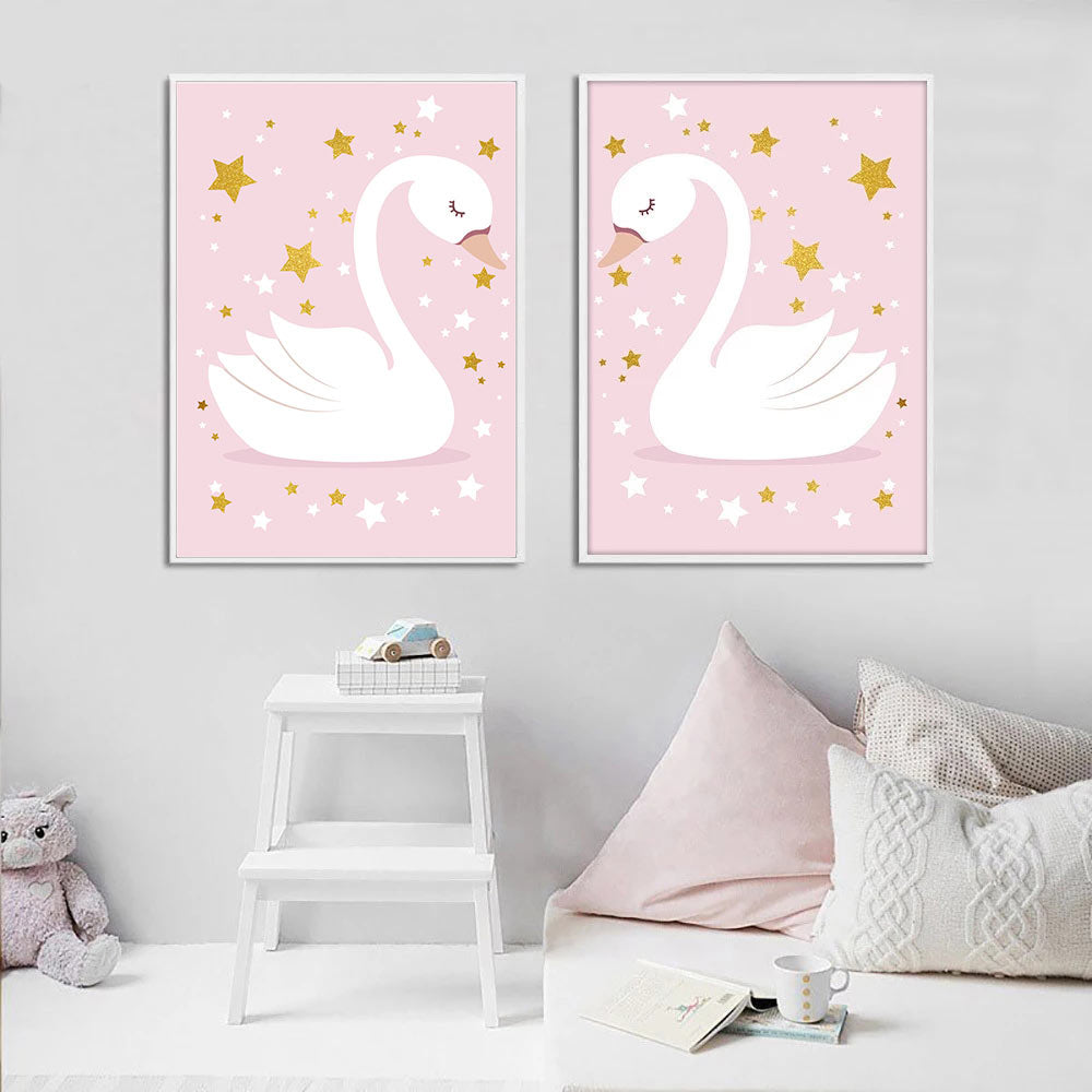Ballet Girl Poster Custom Name Canvas Print Swan Wall Painting Nursery Art Posters Nordic Wall Pictures Baby Girl Room Decor