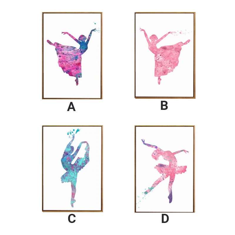 Ballet Girls Dancing Posters Color Splash Abstract Art Pink Purple Jade Posters For Girls Room Canvas Prints For Modern Home Decoration