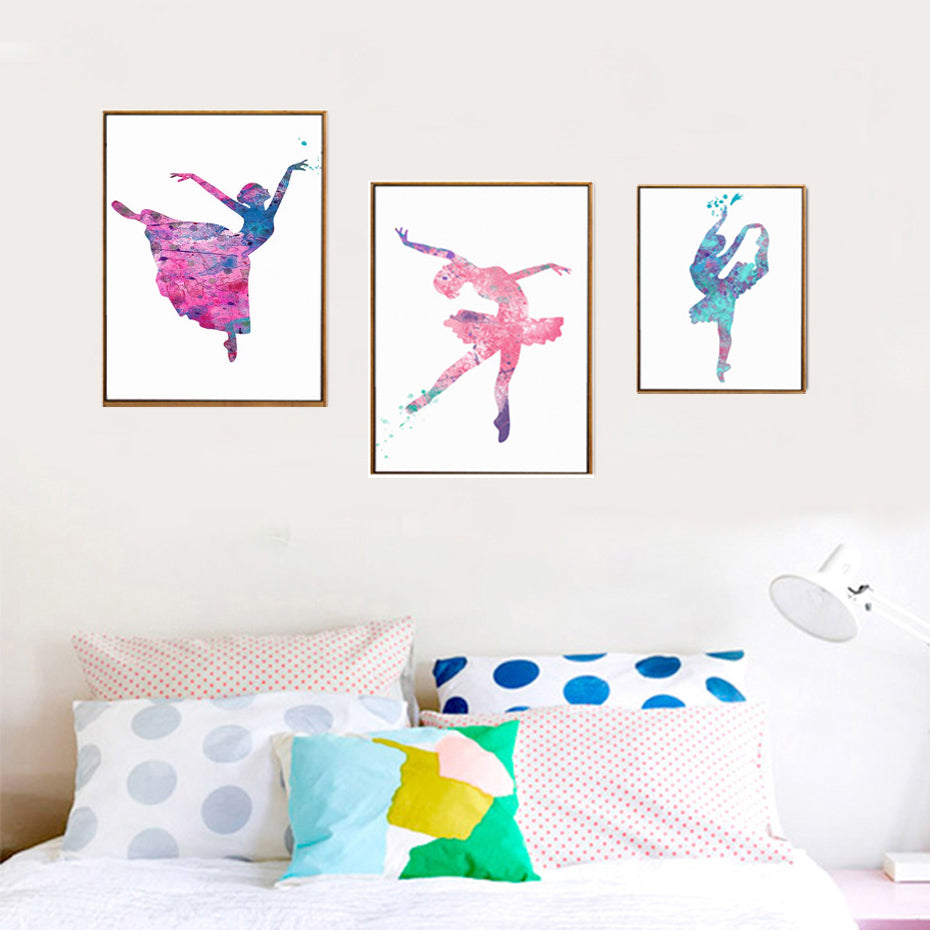 Ballet Girls Dancing Posters Color Splash Abstract Canvas Prints