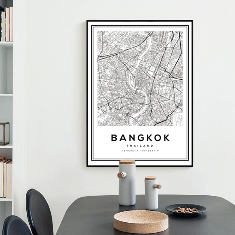 Bangkok City Map Wall Art Street Map Aerial View Black White Fine Art Canvas Prints Minimalist Thailand Travel Map Posters For Home Office Interior Decor