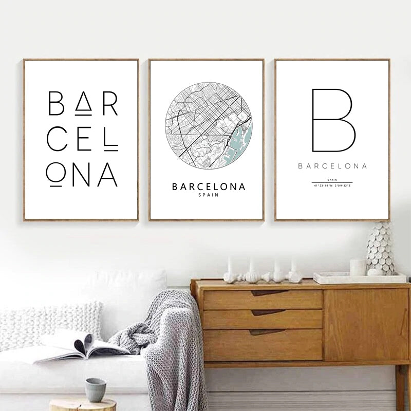 Barcelona City Map Art Minimalist Typographic Design Wall Art Poster Fine Art Canvas Print Pictures For Modern Office Home Interior Wall Decor
