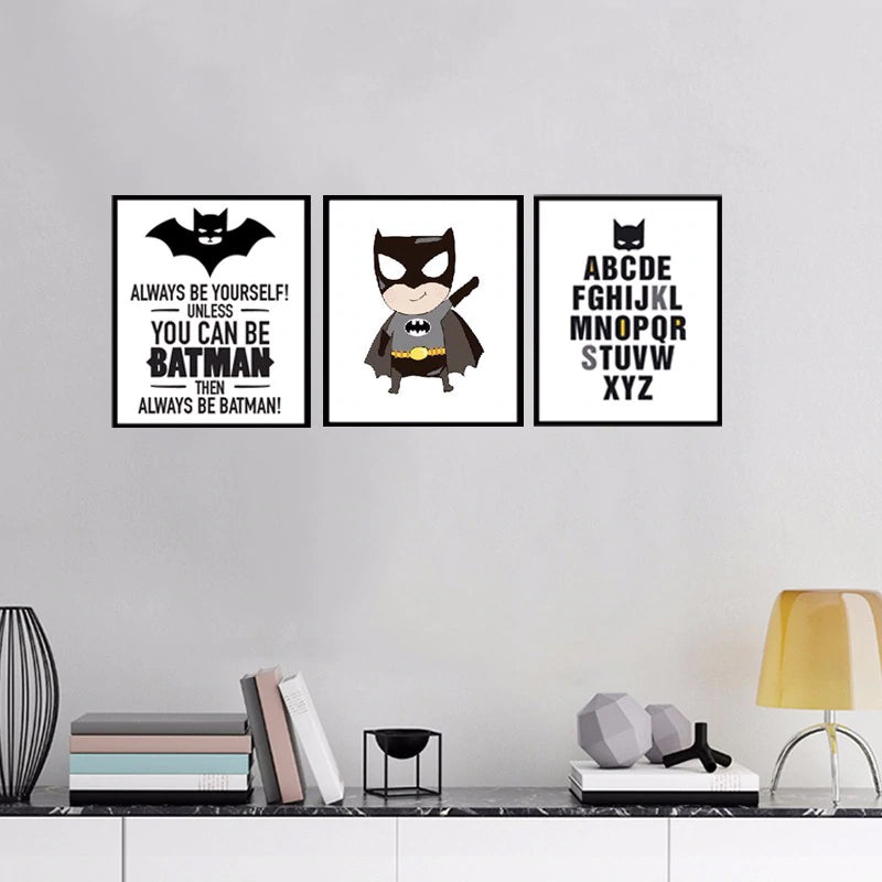 Batman Cartoon Wall Art Canvas Painting Super Hero ABC Alphabet Nursery Wall Art Posters Prints Pictures for Kids Room