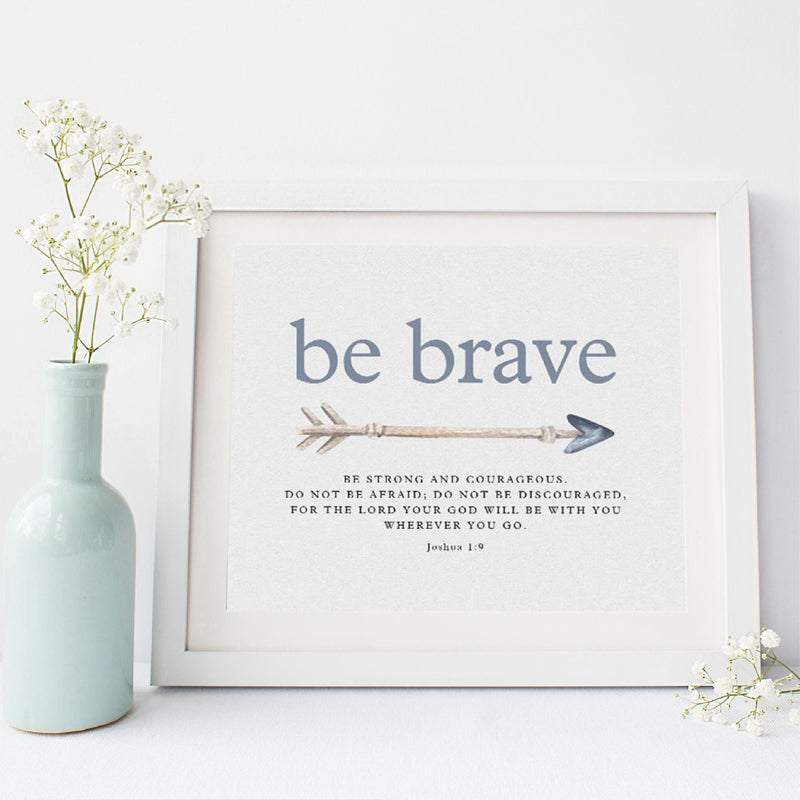Be Brave Be Strong Quotation Wall Art Fine Art Canvas Print Nordic Style Inspirational Motivational Scripture Verse Poster For Living Room Bedroom Wall Decor