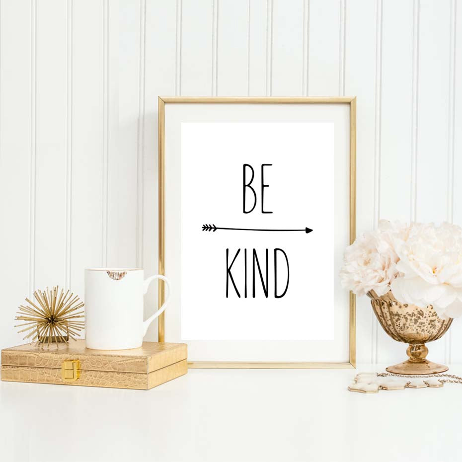 Be Kind Simple Quotation Wall Art Minimalist Black And White Nordic Style Poster Fine Art Canvas Print For Living Room Bedroom Home Office Desk Decor