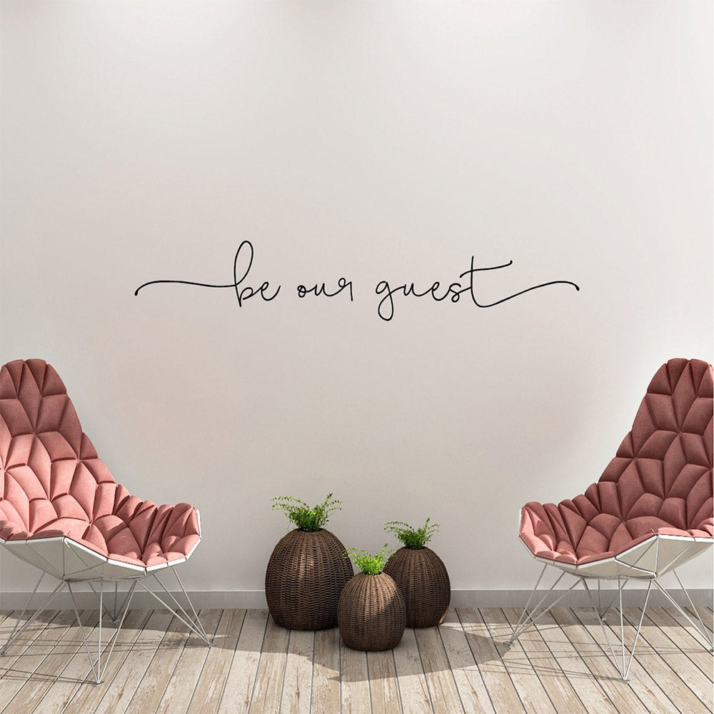 Be Our Guest Typographic Quote Word Art Wall Decal Removable PVC Wall Sticker Decorative Wall Art For Living Room Hotel Room Guest Room Wall Decor