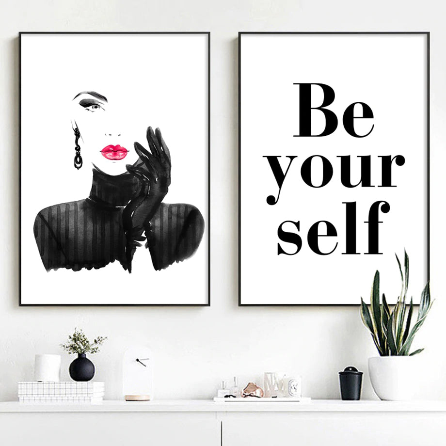 Be Yourself Modern Fashion Glamour Wall Art Black White Red Lipstick Typographic Quotation Poster Fine Art Canvas Print Modern Home Decor