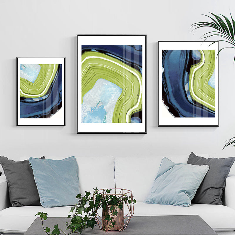 Dark Green Swirl Giclee Canvas Abstract Colour Picture Wall Art