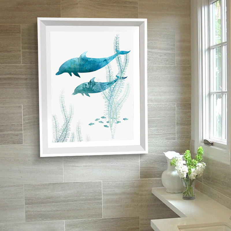 Beautiful Blue Dolphins Posters Bathroom Wall Art Canvas Paintings Modern Art Prints For Living Room Or Bathroom Modern Home Decor