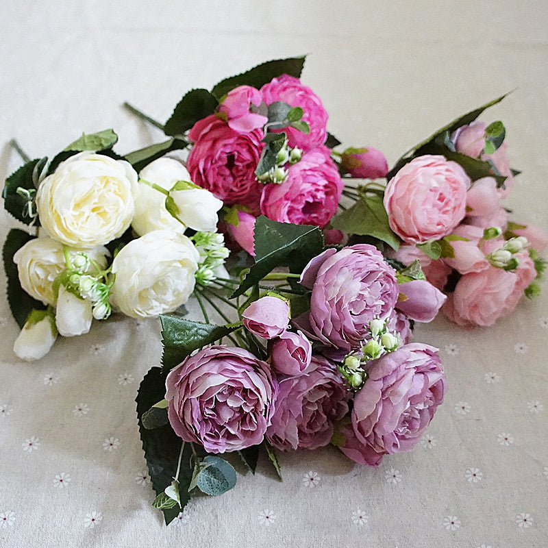 Beautiful Bunch of Peonies Silk Flower Bouquets Home Decor Bridal Rose Peony Floral Display Decoration For Tabletop Nordic Floral Supplies