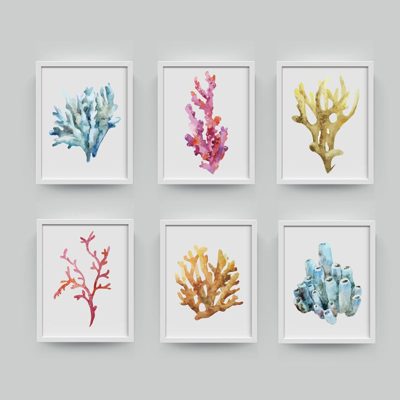 Beautiful Colorful Coral Specimens Subtle Abstract Wall Art Marine Life Fine Art Canvas Prints Paintings For Bathroom Nordic Style Interior Decor
