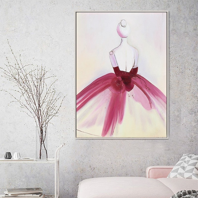 Beautiful Dress Fashion Designer Art Posters Bright Pink Blue Glamour Fashion Salon Art For Modern Boutique Office Home Interior Decoration