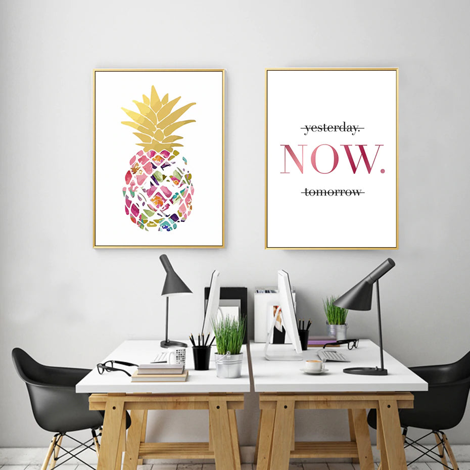 Beautiful Gold Pineapple Art Colorful Abstract Nordic Canvas Posters Inspirational Now Quotes Prints For Modern Living Room Home Decor