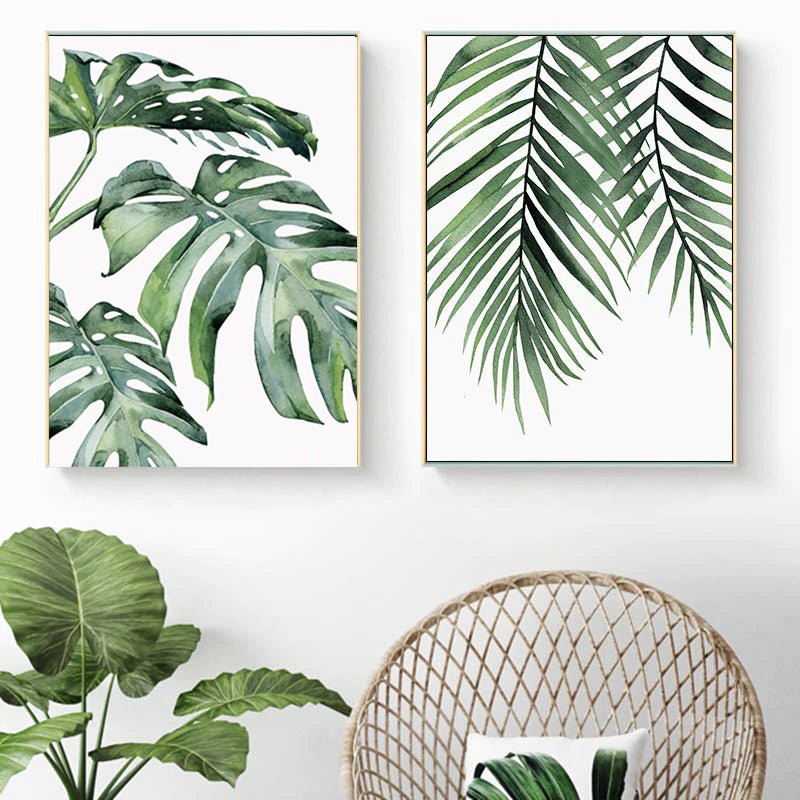 Beautiful Tropical Leaves Watercolor House Plants Posters Fine Art Canvas Prints Nordic Style Interior Decoration For Modern Kitchen Living Rooms